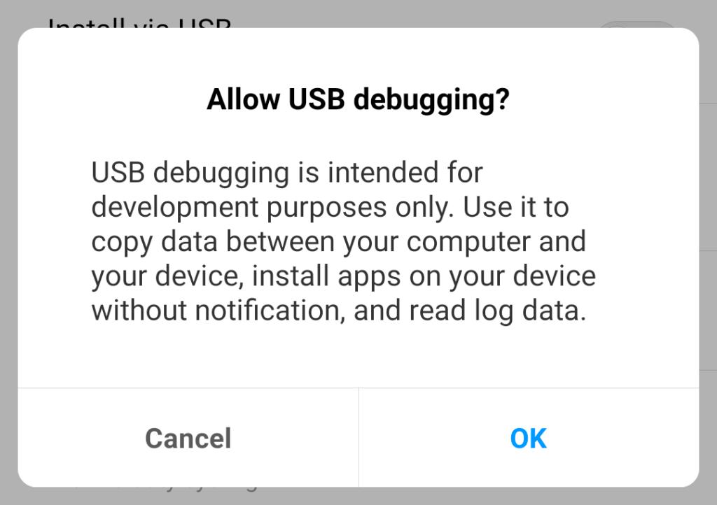 allow usb debugging