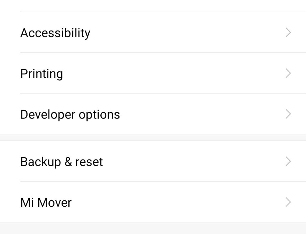 find developer options