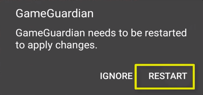 7. Now Restart the Game Guardian