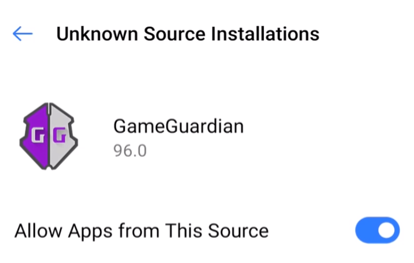 8. Enable unknown app for Game Guardian APP